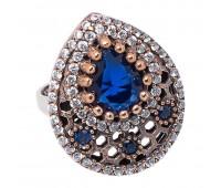 Перстень с фианитами и кианитами 100391