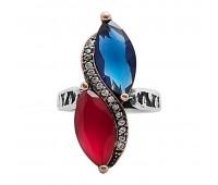 Перстень с фианитами кианитом и рубином 100467