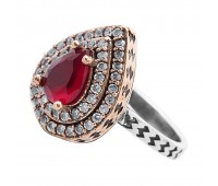 Перстень с фианитами и рубинами 100440