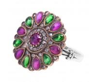 Перстень с фианитами рубинами изумрудами и гранатами 100472