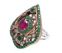 Перстень с фианитами рубином и изумрудами 100513