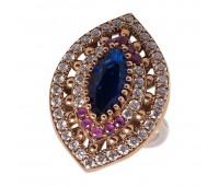 Перстень с фианитами  рубинами и кианитами 100329