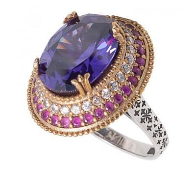 Перстень с фианитами  аметистом и рубинами 100365