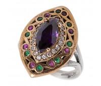 Перстень с фианитами  аметистом  рубинами и изумрудами 100386