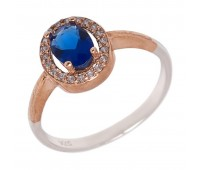 Перстень с фианитами и кианитами 100407