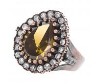 Перстень с фианитами и цитрином 100456