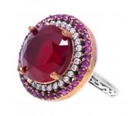 Перстень с фианитами и рубинами 100524