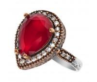 Перстень с фианитами и рубинами 100557