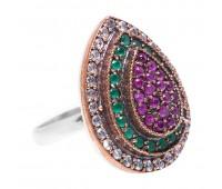 Перстень с фианитами  рубинами и изумрудами 100495