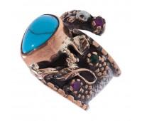 Перстень с фианитами, рубинами, изумрудами и бирюзой 100781