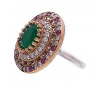 Перстень с фианитами, рубинами и изумрудами 100643