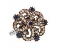 Перстень с фианитами и кеанитами 100741