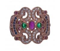 Перстень с фианитами, кианитами, рубинами и изумрудами 100485