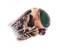 Перстень с фианитами рубинами и изумрудами 100209