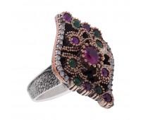 Перстень с фианитами рубинами и изумрудами 100224
