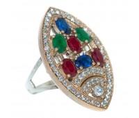 Перстень с фианитами кеанитами рубинами и изумрудами 100225