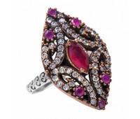 Перстень с фианитами и рубинами 100760