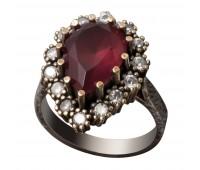 Перстень с фианитами и рубинами 100554